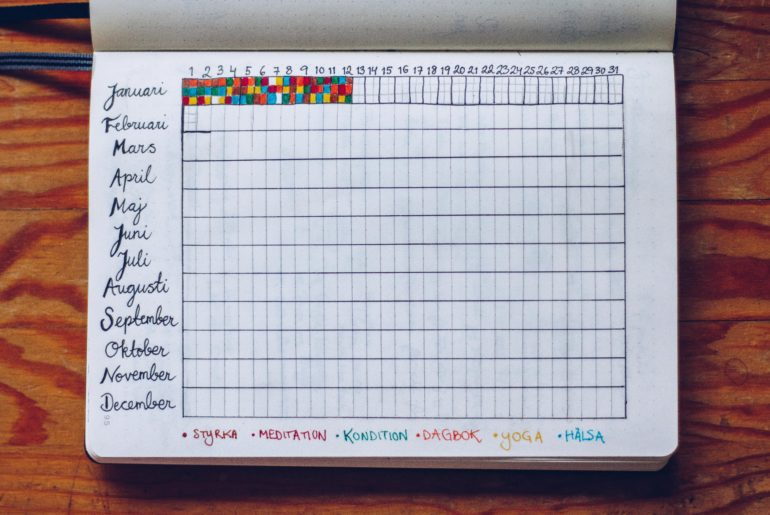 Habit tracker year in pixels Bullet Journal - reaktionista.se