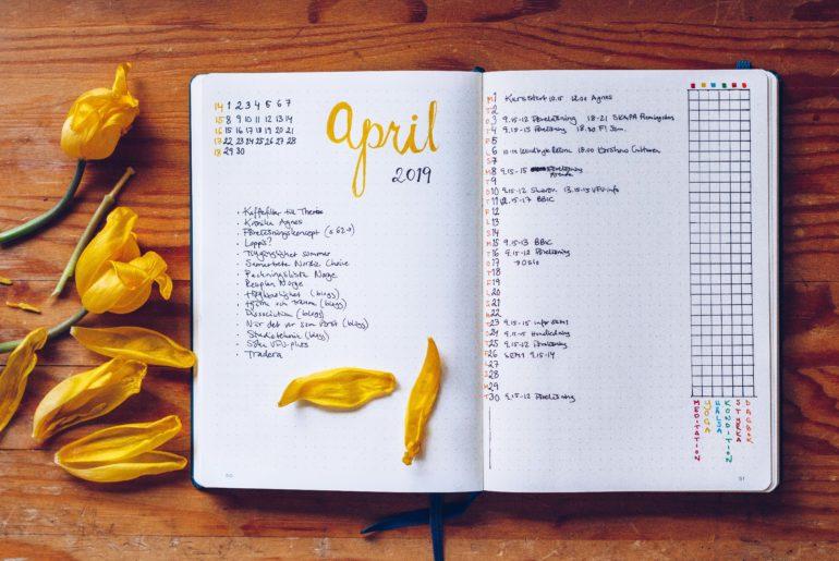 Månadsplan April Bullet Journal - reaktionista.se